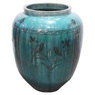 Large Chinese Hunan Pottery Green Glazed Vessel