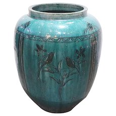 Large Chinese Hunan Pottery Green Glazed Vessel