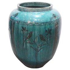 Large Chinese Hunan Green Glazed Pottery Vessel