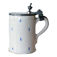 German Walzenburg Faience Pottery and Pewter Tankard