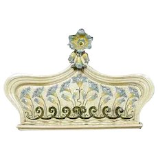 Large Swedish Art Nouveau Majolica Crown / Stove Pediment Wall Plaque