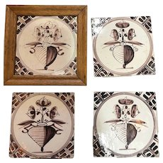 Four Dutch Delft Puce and White Pottery Tiles