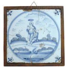 Framed 18th century Dutch Delft Blue and White Pottery Tile, Religious Scene
