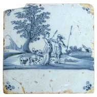 Dutch 18th century Delft Blue and White Pottery Tile, Flirting Shepherd