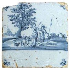 Dutch 18th century Delft Blue and White Pottery Tile, Flirting Shepherd