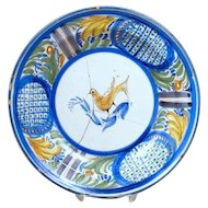 Spanish Tin Glazed Pottery Plate with Bird