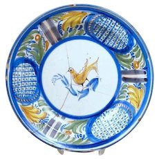 Spanish Tin Glazed Pottery Plate with Bird