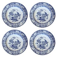 Set of Four English Ashworth Blue and White Ironstone Low Bowls