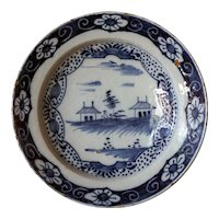 Large Dutch Delft Chinese Export Style Blue and White Pottery Plate