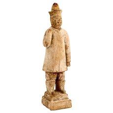 Chinese Ming Dynasty Glazed Pottery Attendant Tomb Figure