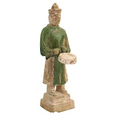 Chinese Ming Dynasty Glazed Pottery Drummer Musician Attendant Tomb Figure