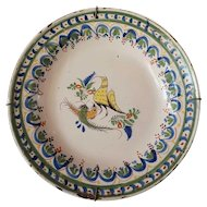 Early Spanish Faience Pottery Plate