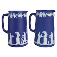 Pair of English Wedgwood Dark Blue Jasperware Pitchers