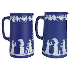 Pair of English Wedgwood Dark Blue Jasperware Pitchers