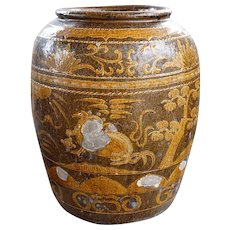 Large Chinese Brown Glazed Pottery Jar Planter
