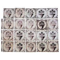 Collection of 20 Dutch Delft Manganese Pottery Flowering Urn Tiles