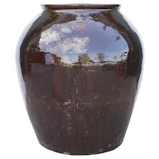 Large Chinese Qing Brown Glazed Pottery Wine Pot