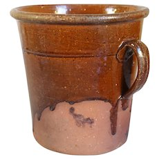 English Glazed Redware Pottery One-Handle Crock
