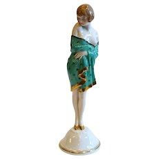 Bohemian Fischer Mieg Pirkenhammer Art Deco Porcelain Nude Girl Figurine