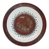 Japanese EIRAKU WAZEN Silver Iron Red Porcelain Round Dragon Plate