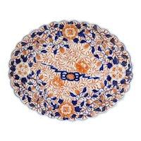 Japanese Meiji Imari Porcelain Floral Scalloped Oval Platter