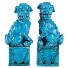 Pair of Vintage Chinese Hollywood Regency Turquoise Glaze Pottery Foo Dog Statuettes