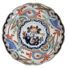 Japanese Meiji Imari Porcelain Scalloped Edge Round Plate