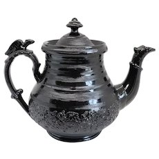 Rare English Georgian Jackfield Ware Black Pottery Teapot