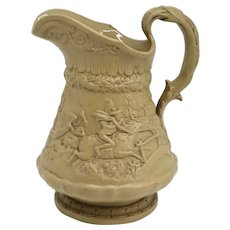 English W. Ridgway & Company Stoneware Pottery Relief Moulded Tam O' Shanter Pitcher
