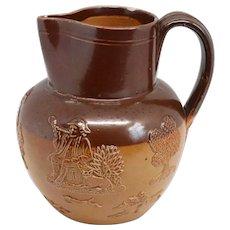 Small English Doulton Lambeth Stoneware Pottery Whiskey Jug