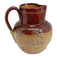 Small English Doulton Lambeth Stoneware Pottery Pitcher