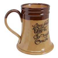 English Doulton Lambeth Stoneware Pottery Motto Mug or Tankard