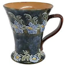 English Doulton Lambeth Louisa Wakely Art Nouveau Stoneware Pottery Mug