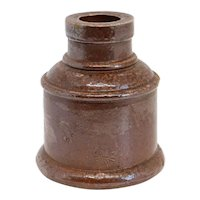 English Victorian Stoneware Salt Glaze Pottery Inkwell