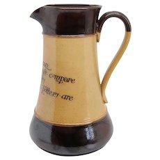 Large English Doulton Lambeth Stoneware Pottery Motto Pitcher