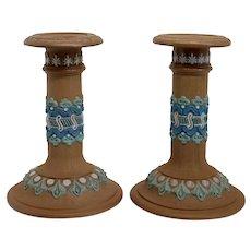 Pair of English Doulton Lambeth Silicon Ware Stoneware Pottery Candlesticks