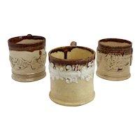 Collection of Three English Lambeth Ware Stoneware Pottery Mugs