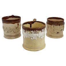Collection of Three English Lambeth Ware Stoneware Pottery Mugs