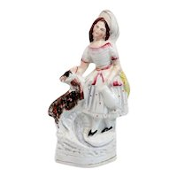 English Staffordshire Pottery Flatback Figural Group of a Girl and a Sheep