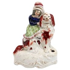 Scarce English Staffordshire Pottery Figural Girl and Spaniel Dog Quill Pen Holder