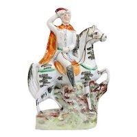 English Staffordshire Pottery Flatback Figural Group of a Military Figure on Horseback