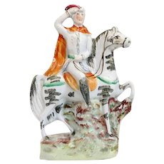 English Staffordshire Pottery Flatback Figural Group of a Military Figure on Horseback