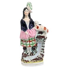 Large English Staffordshire Pottery Flatback Figural Group of a Scottish Girl with a Dog