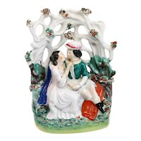English Staffordshire Pottery Flatback Figural Grouping of a Romantic Couple