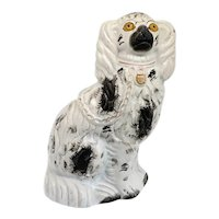 Large English Staffordshire Pottery Flatback Black and White Spaniel Dog