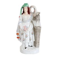 Very Large English Staffordshire Pottery Flatback Figural Group of a Shepherdess and Lamb
