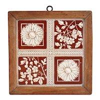 English Aesthetic Movement Teak Framed Pottery Botanical Tile