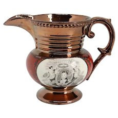 Small English Copper Luster and Transferware Pottery Historical Lafayette Cornwallis Pitcher