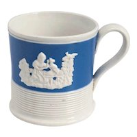 Small English Pearlware Blue and White Pottery Mug / Coffee Can