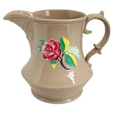 Small English Georgian Drabware Pottery Floral Pitcher
